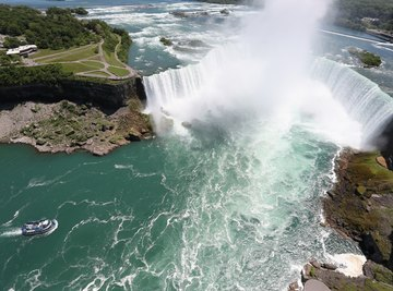 An aerial view of Niagara Falls at the U.S. and Canadian border.