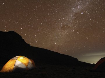 Campers observing the Milky Way from a tent.