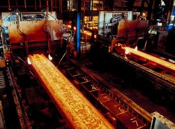 Steel beams being manufactured.