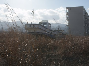 Parked fishing boat commemorates the second anniversary of the tsunami that struck Japan in 2011.