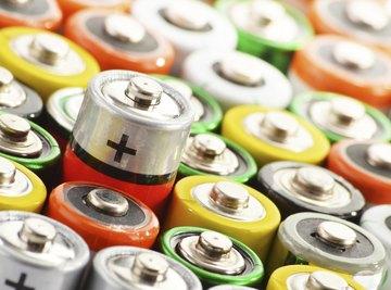 Close-up of carbon batteries