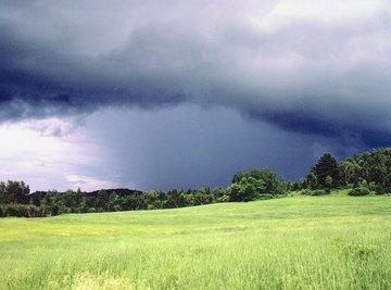 A rain storm moving across the horizon.