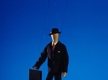 String puppets can be used to portray moving characters.