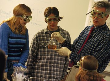 Wear safety goggles to observe chemical reactions.