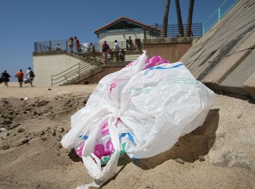 A plastic bag blowing around a beach.