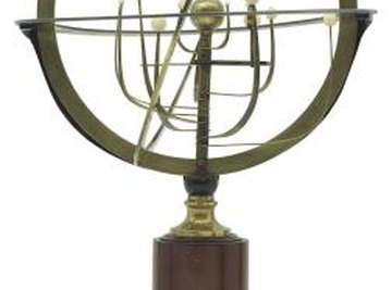 An orrery shows the motions of the planets through the solar system.
