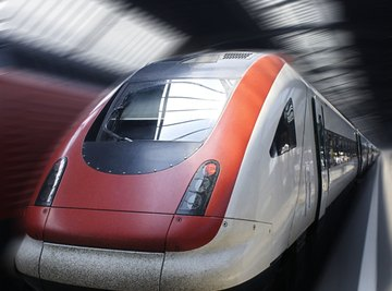 High speed trains travel using magnetic levitation.