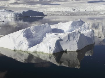 Iceberg fragments floating in water