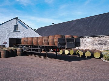 Liquor is often aged in wooden barrels to improve taste.