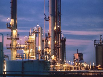 Natural gas is passed through various towers to remove moisture.