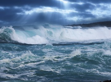 Ocean swells during storm