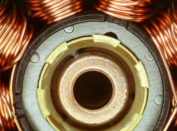 The stator on an electric motor may contain several tightly-wound copper wire coils.