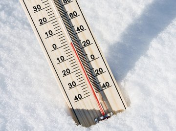 Close-up of weather thermometer stuck into snow.