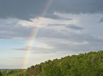 A rainbow arching through the sunshine and clouds in the sky over a forest.