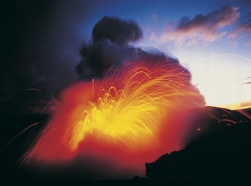 Lava and steam are two materials released from volcanoes.