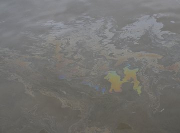 A diesel spill on the water surface off the coast of Manila, Philippines.