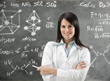 Scientist in front of her chalkboard