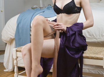 Nylon stockings provide an alternative to expensive silk.