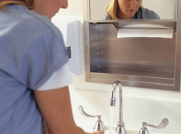 Your doctor washes her hands to get rid of germs.