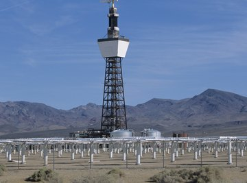 Solar farms harvest energy from the sun to generate electrical power.