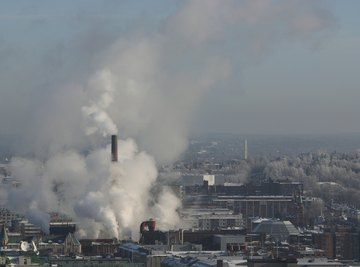 Industrial smog is caused primarily by smoke from factories.