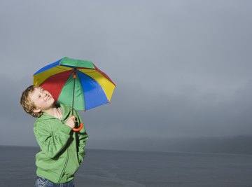 Umbrellas can be used for protection against the sun or rain.