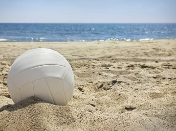 Volleyball on sandy beach