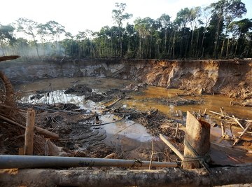 View of illegal gold mining operations found by authorities in the Amazon lowlands of Peru