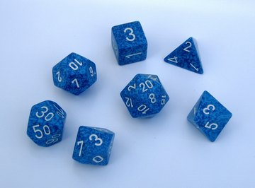 An assortment of different polygon-shaped dice