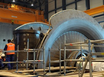 Outline of blades on a steam turbine under construction in Hamburg, Germany.