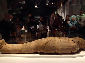 Linen wrappings, soaked in preservatives, encased the mummified remains of important ancient Egyptians.