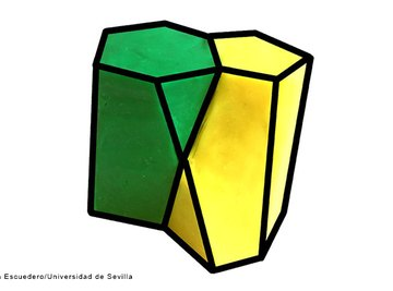 With a hexagon on one side and a pentagon on the other, the scutoid looks like a prism with one corner chopped off.