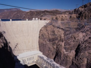 The Hoover dam uses water to generate electricity.