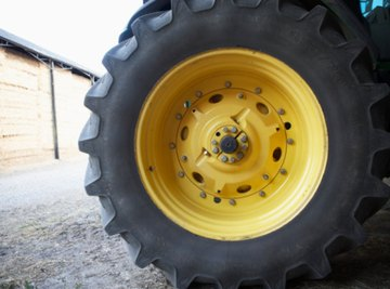 Keeping proper air pressure in tractor tires is a part of routine maintenance.