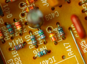 Resistors are color-coded to show their resistance values.
