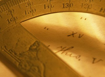 A protractor is used by math students to study angles and geometry.