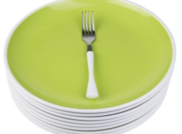 The distance around the plate is the circumference; the fork marks the diameter.