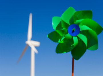 A pinwheel or windmill takes advantage of the mechanical energy of wind.