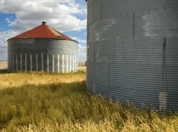 Grain bins are agricultural storage units.
