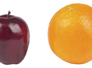 A ratio of one apple to one orange would be 1 to 1.