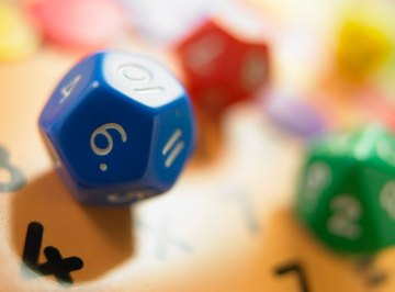 Dice make useful props for math board games.