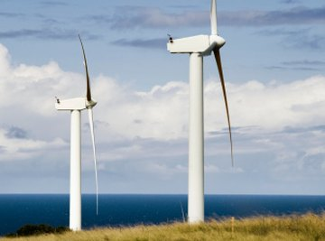 Wind turbines transform the kinetic energy of air into electrical power.