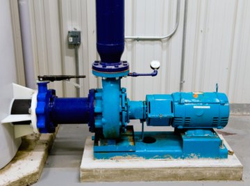 In a typical centrifugal pump, the volute draws water into the center of the pump and dischages upwards.
