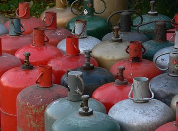 Butane gas is sold in containers.