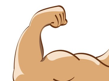 Strong male arm with lots of muscles.