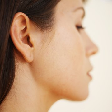 Side view close-up of a young woman's face