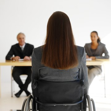 businesswoman in a wheelchair having an interview