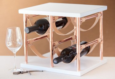 DIY Copper Pipe and Leather Wine Rack