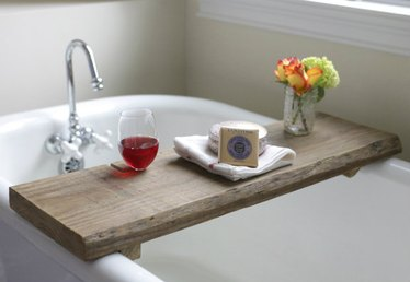 Make This Rustic Bath Caddy From a Single Board of Reclaimed Wood