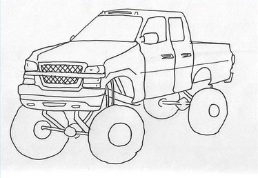 How to Draw a Jacked Up Truck